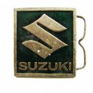 Vintage Suzuki S Enameled Green Belt Buckle Made In USA 093014