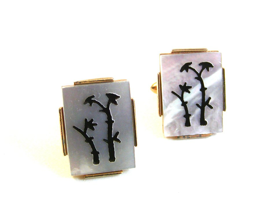 Vintage Gold Tone & Abalone Palm Tree Cufflinks By Swank