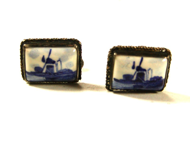 Vintage Blue Delft Windmill Holland 835 Silver Cufflinks By CW 71015
