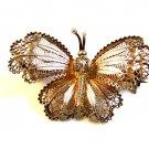 Vintage 800 Silver European Filigree Butterfly Brooch