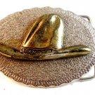 Vintage Silver Tone Old Time Cowboy Hat Belt Buckle