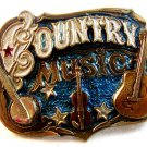 Vintage 1982 County Music Guitar Banjo Belt Buckle by Great American Buckle Co.