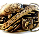 Vintage B.A.S.S. Bass Anglers Sportsman Society Belt Buckle Made in U.S.A.