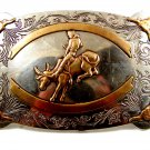 Vintage Western Cowboy Rodeo Bull Riding Belt Buckle by Frontier Buckles