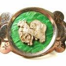 1950's Silvertone Green Bakelite Wagon Horse Belt Buckle Unbranded Made Japan