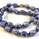 "Vintage 24"" Chinese Blue Delft Bead Necklace"