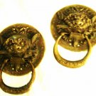 Antique Vintage Chinese Fu Dog Lion Spirit Two 2 Temple Door Knockers