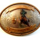 Vintage Nickel Silver Western Rodeo Cowboy Barrel Racing Belt Buckle
