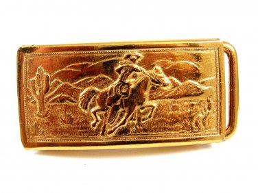 1950's Childs Western Cowboy On Horse Goldtone Belt Buckle Unmarked 102014