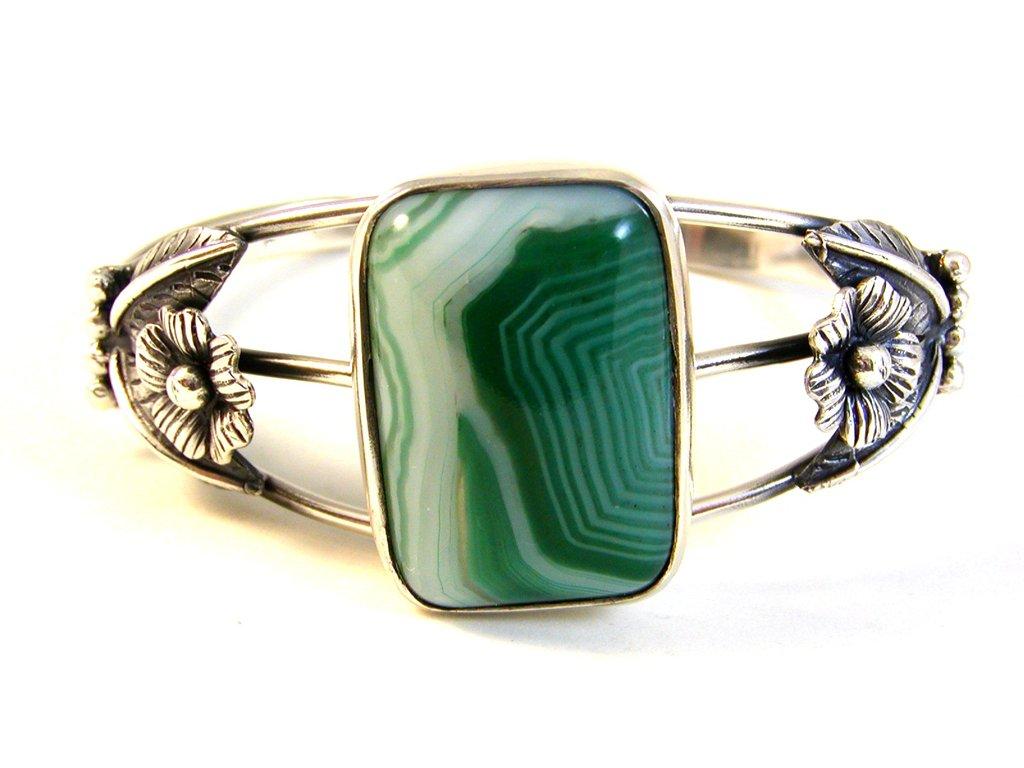 Southwest Sterling Silver & Malachite Cuff Bracelet