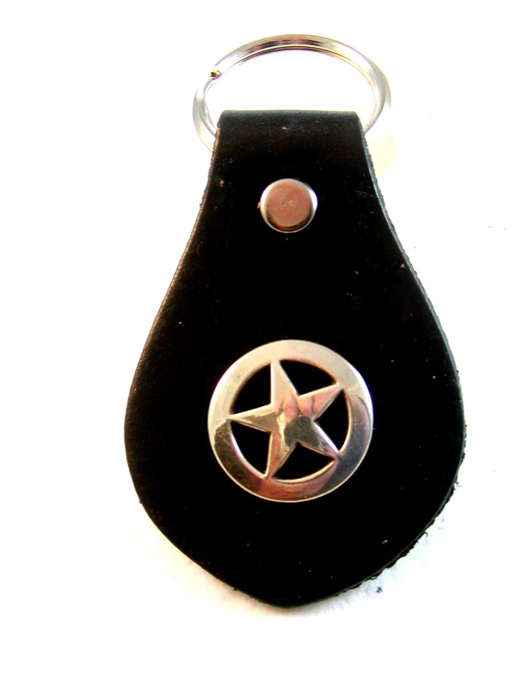Western Cowboy Rodeo Key Chain with Silver Tone Star