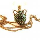 "Vintage Gold Tone & Green & Rhinestones Pendant & 36"" Chain"