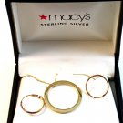 """Sterling Silver Gold Vermail Circle Pendant / 18"""" Chain & Earrings MIB"""