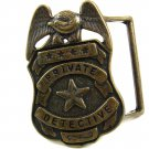 Vintage Brass Private Detective Belt Buckle 10242013