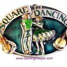 Vintage 1989 Enameled Square Dance Buckle Belt Buckle by Siskiyou