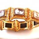 Gorgeous Victorian Etruscan 800 Silver Gold Vermeil Cameos Bracelet