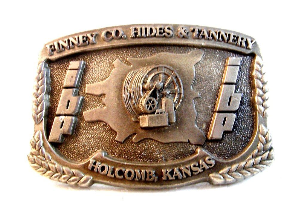 Vintage Finney Co. Hides & Tannery Holcomb, Kansas Belt Buckle