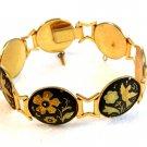 Vintage Damascene Birds Flowers Link Bracelet