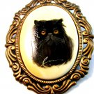 Vintage Signed Enameled Wood Hand Painted Cat Brooch