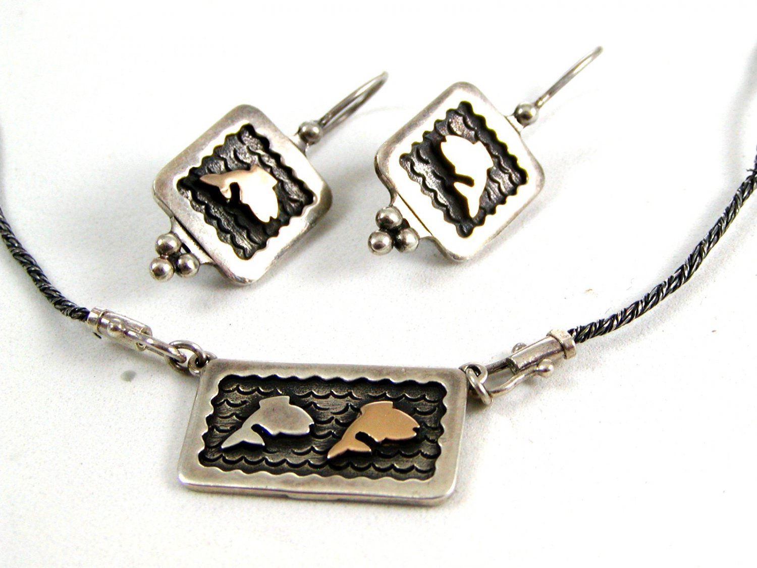 14K Gold & Sterling Silver Fish Pieced Earrings & Matching Necklace