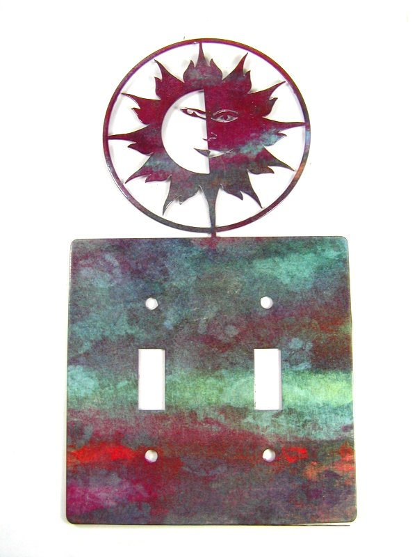 Smiling Sun Double Light Switch Cover Plate by Steel Images USA 6215r