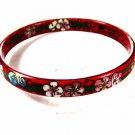 Vintage Oriental Red Flowers Cloisonne Bracelet Unbranded 71715