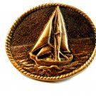 Vintage Handcrafted Sail Boat Belt Buckle Signed Crafts by Mike ? W.Va.