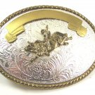 Western Cowboy Rodeo Bull Rider 2 Tone Belt Buckle Made in USA