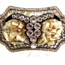 Ladies Rhinestone & Mother of Pearl Chips Bull Skull Belt Buckle