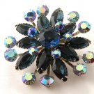 Gorgeous Unsigned Vintage  Blue Rhinestone  Brooch