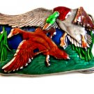 Vintage 1977 Bergamont Ducks in Flight Enameled Belt Buckle