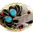 Southwest Handcrafted American Eagle Coral Turquoise Belt Buckle US