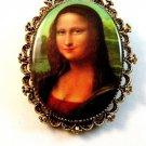 Vintage Mona Lisa Portrait Brooch