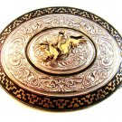 Vintage Bull Rider Western Cowboy Rodeo Belt Buckle by Marcus  Monterrey Mexico