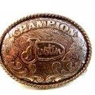 Vintage Western Cowboy CowGirl SilverTone Champion Belt Buckle by Justin 121714