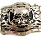 Gothic Skull & X & Flames Belt Buckle Signed @TLF