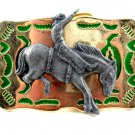 Made in USA Western Gold Tone Cowboy on Broncho Belt Buckle #102113e