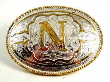 Western Cowboy Initial Letter N Belt Buckle by Silver Strike 12112013nn