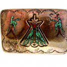 Native American Silver Turquoise Coral Teepee Birds Belt Buckle