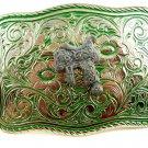 Made in USA Western Silvertone Green Cowboy Saddle Belt Buckle #102113a