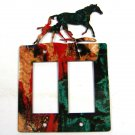 Mama Horse & Colt Double Rocker Outlet Cover Plate by Steel Images USA C