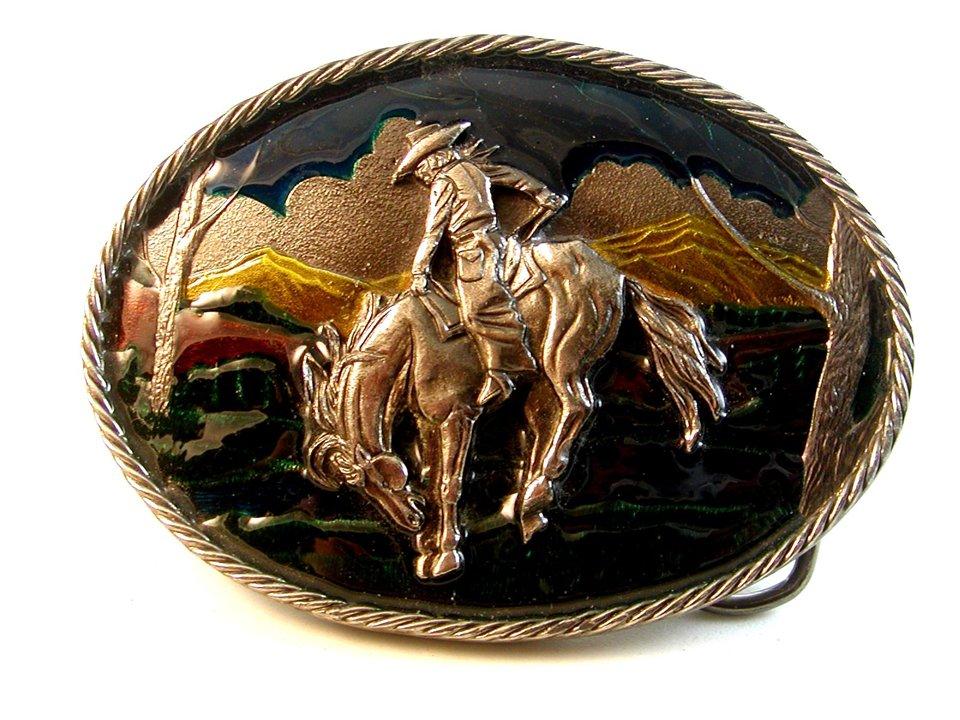 1982 Cowboy Western Horse Enameled Belt Buckle Great American Buckle Co.