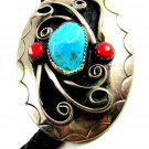 Great Looking Southwest Western Turquoise & Coral Bolo