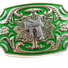 Western Silvertone Green Saddle Belt Buckle #102113