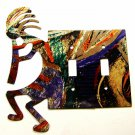 Southwest Kokopelli Flute Players Double Switch Cover Plate by LAZART 022415A