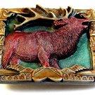 Large Vintage 1994 Bergamont Enameled Buck Deer  Belt Buckle