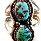 Native American Sterling Silver & Turquoise Cuff Bracelet by Manuel Hoyungowa