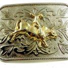 Silvertone Goldtone Western Rodeo Cowboy Riding Bull Belt Buckle 10292013