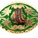 Western Goldtone Green Cowboy Boots Belt Buckle #102113