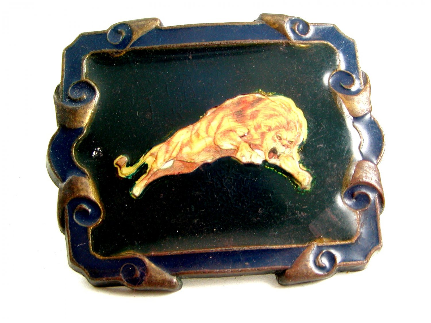 Roaring Lion Enameled Belt Buckle Marked IN in Circle